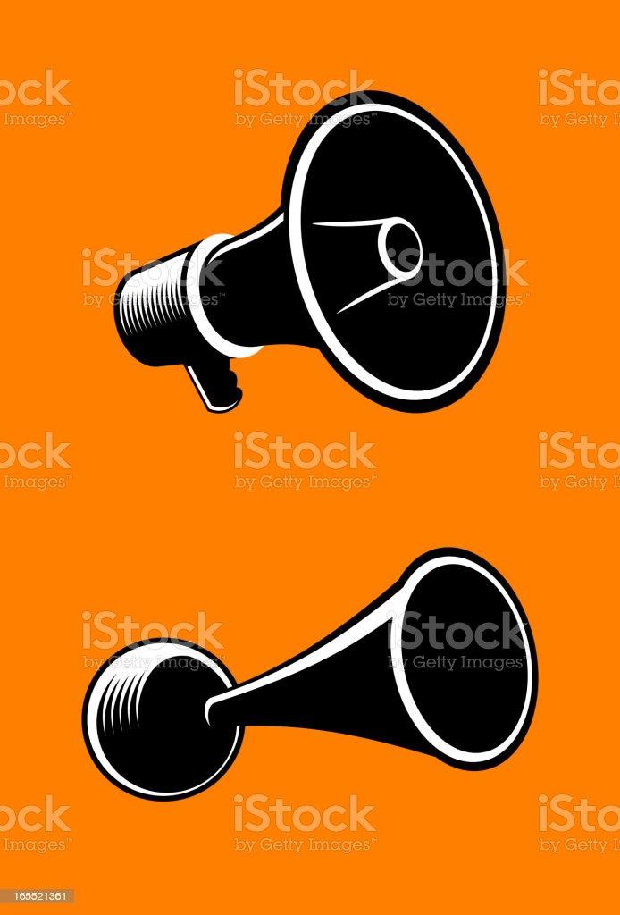 Two black megaphone illustrations on an orange background royalty-free stock vector art