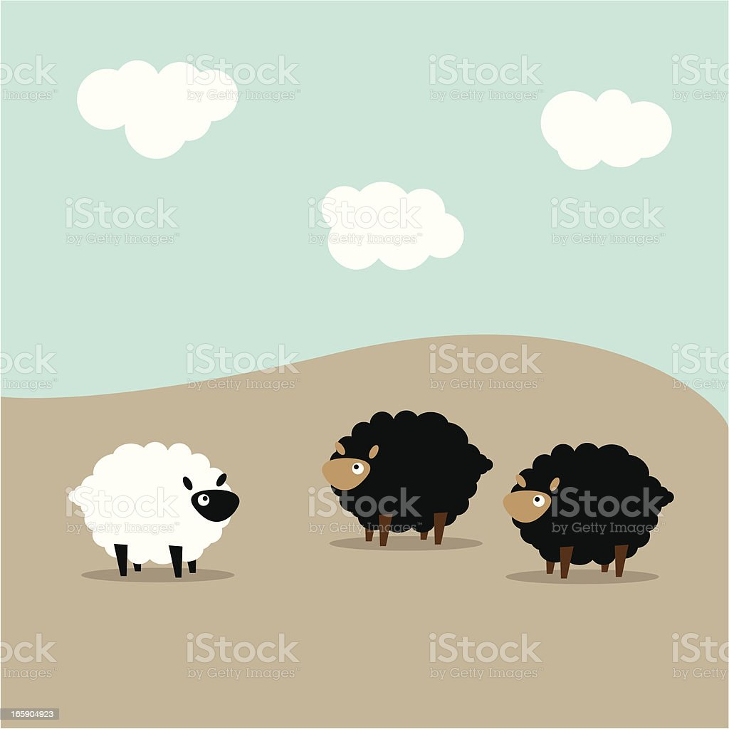 Two black sheep looking at a lone white sheep vector art illustration