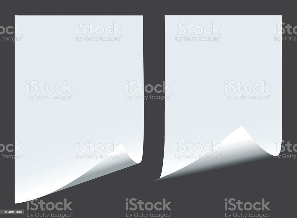 Two blank pieces of paper on a dark background vector art illustration