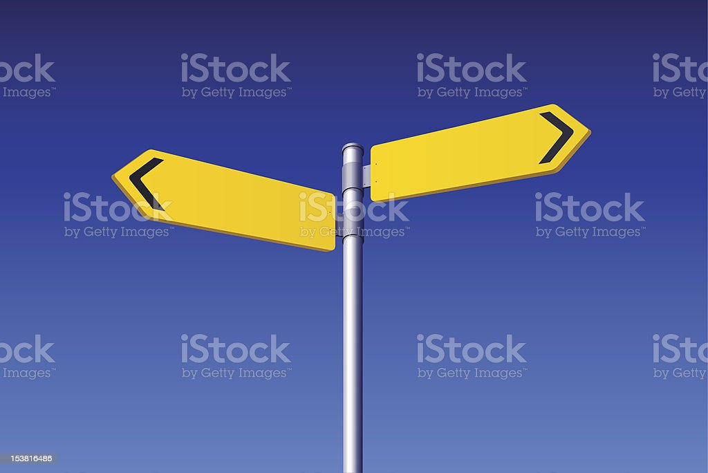 Two Blank Road Signs vector art illustration