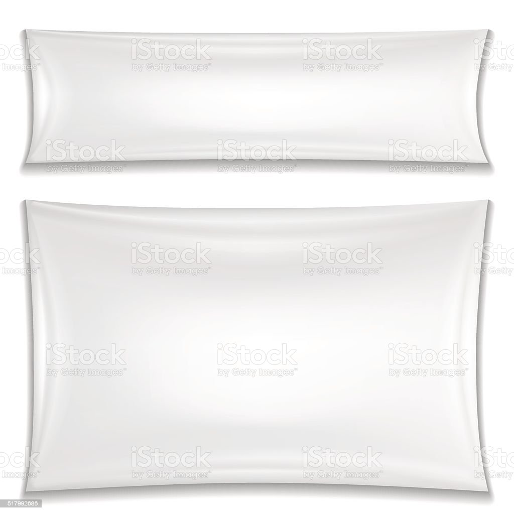 Two blank white textile banners vector art illustration