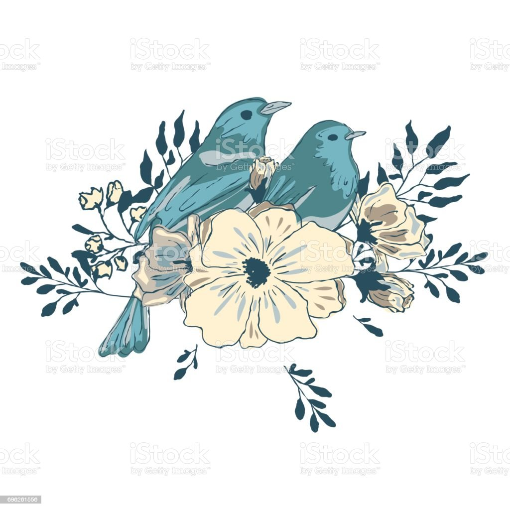 Two blue birds in  flowers. vector art illustration