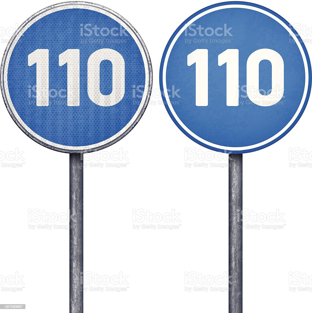 Two blue minimum speed limit 110 circular road signs vector art illustration