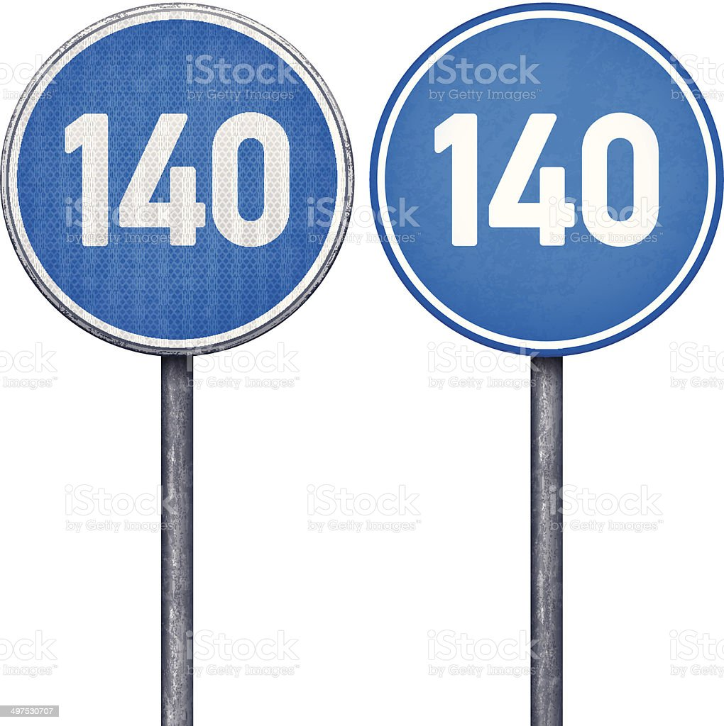 Two blue minimum speed limit 140 circular road signs royalty-free stock vector art