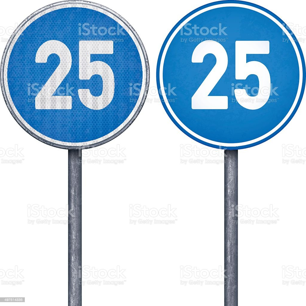 Two blue minimum speed limit 25 circular road signs royalty-free stock vector art