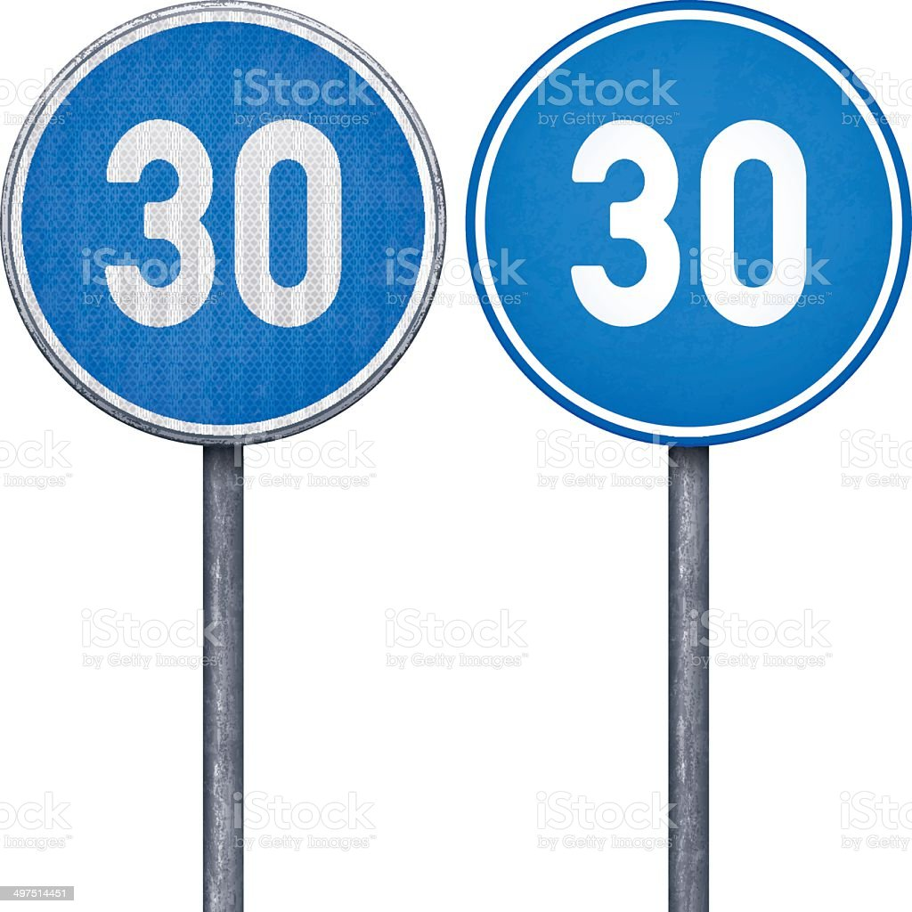 Two blue minimum speed limit 30 circular road signs royalty-free stock vector art