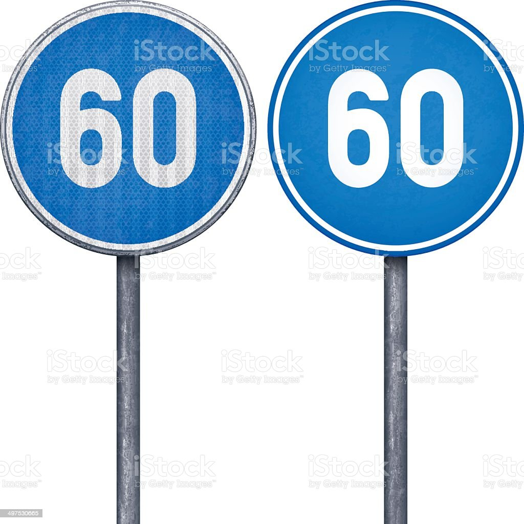 Two blue minimum speed limit 60 circular road signs royalty-free stock vector art