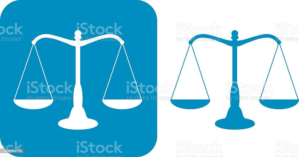 Two Blue Scales Of Justice icons vector art illustration