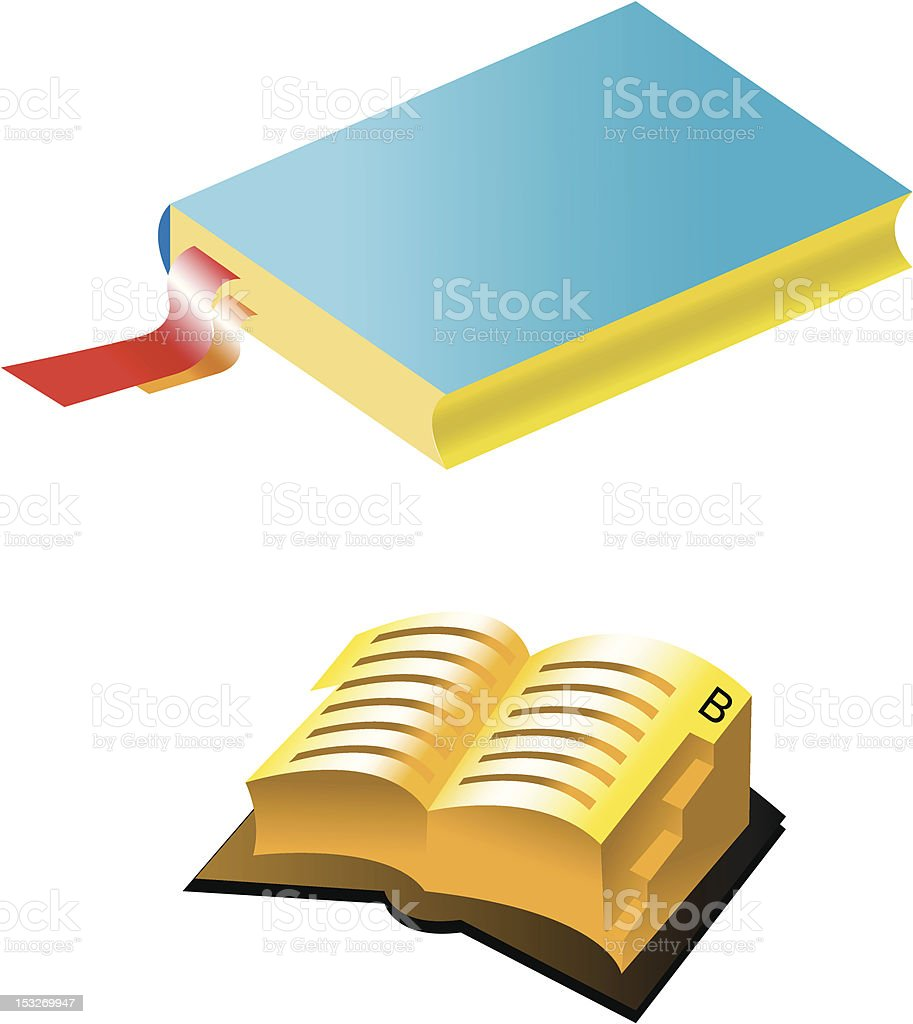 Two books with bookmark vector art illustration