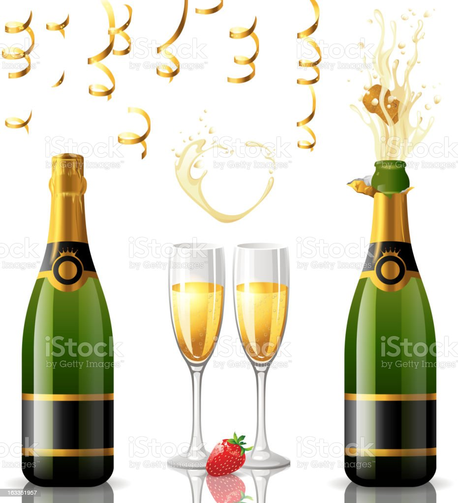Two bottles of champagne and two glasses vector art illustration