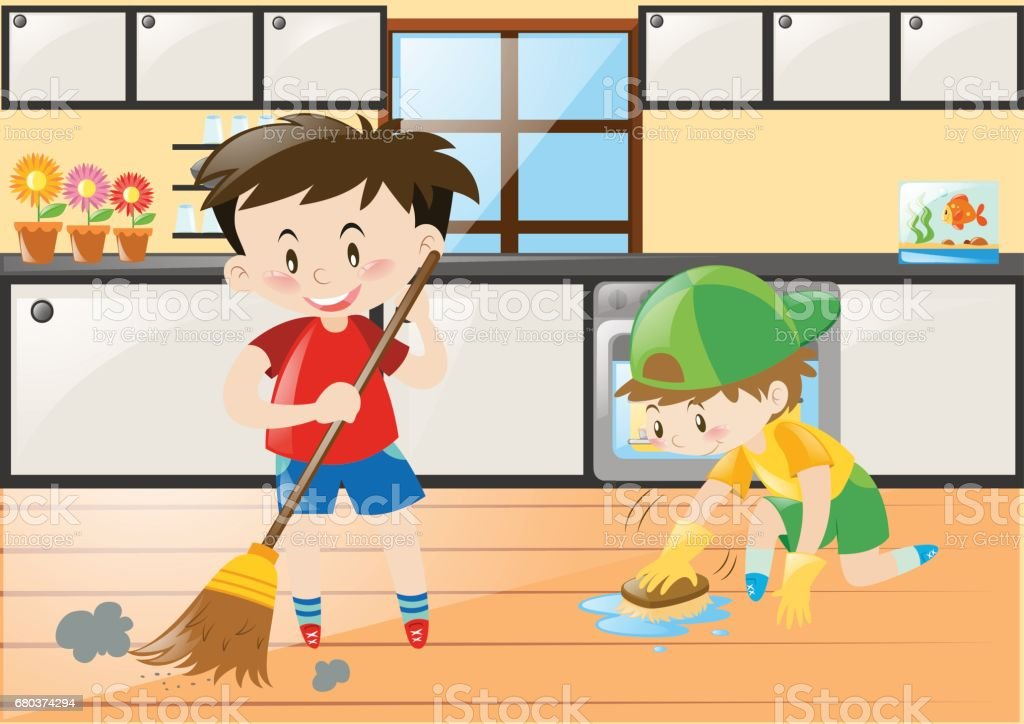Two Boys Cleaning The Kitchen At Home Royalty Free Stock Vector Art