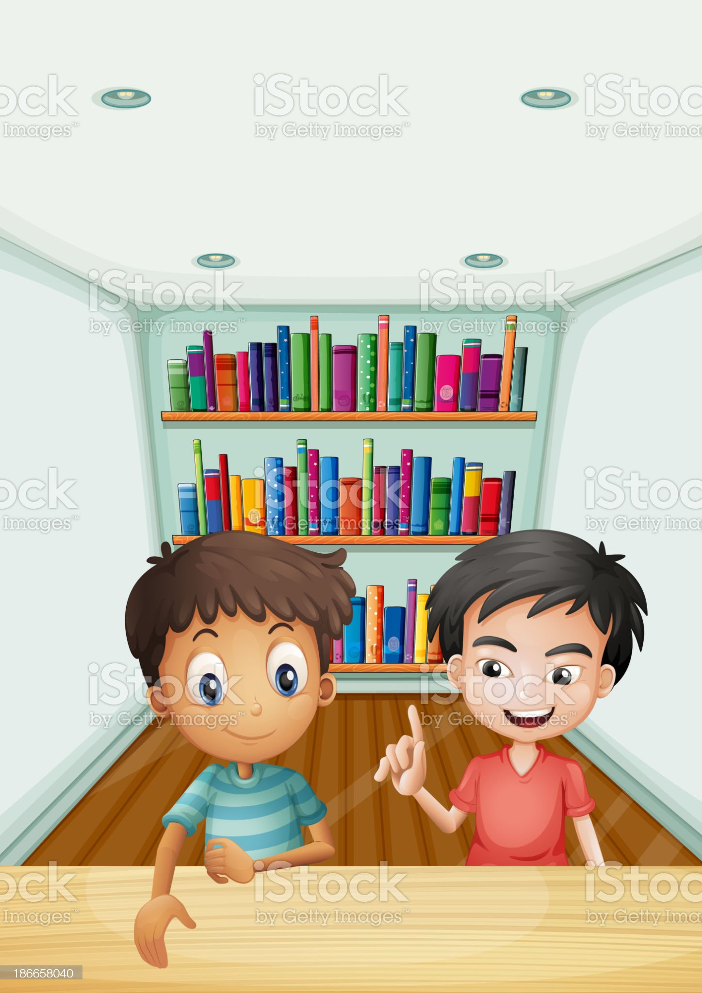 Two boys in front of the bookshelves with books royalty-free stock vector art