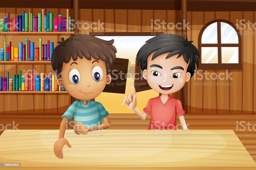 Two boys inside the saloon bar with books vector art illustration