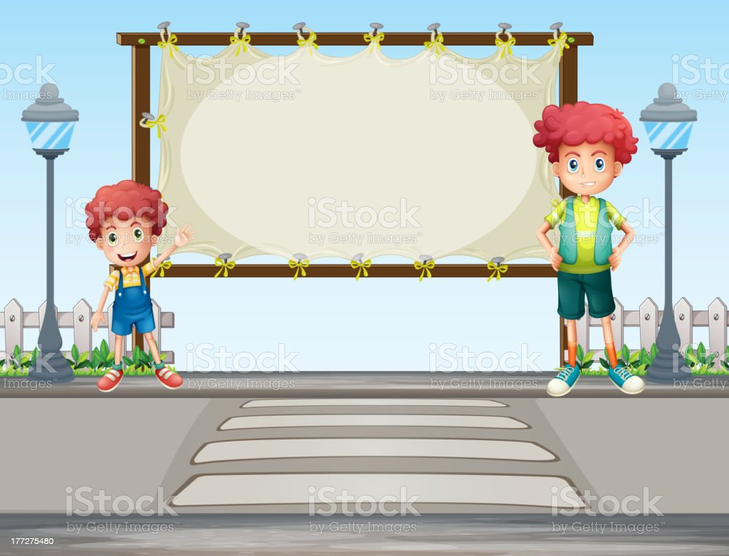 Two boys near the lamp post royalty-free stock vector art