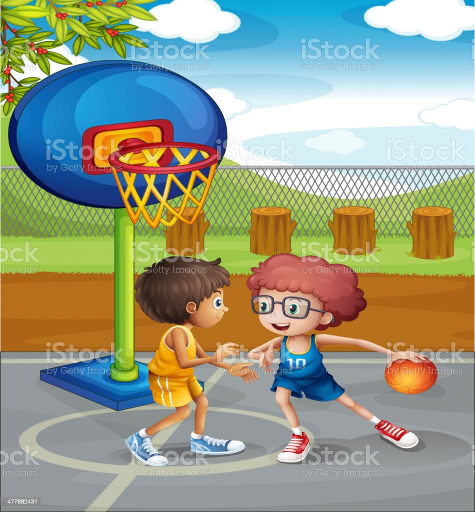 Two boys playing basketball at the court royalty-free stock vector art