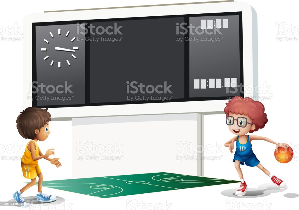 Two boys playing basketball in court with scoreboard royalty-free stock vector art