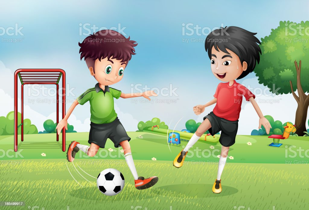 Two boys playing soccer near the park royalty-free stock vector art