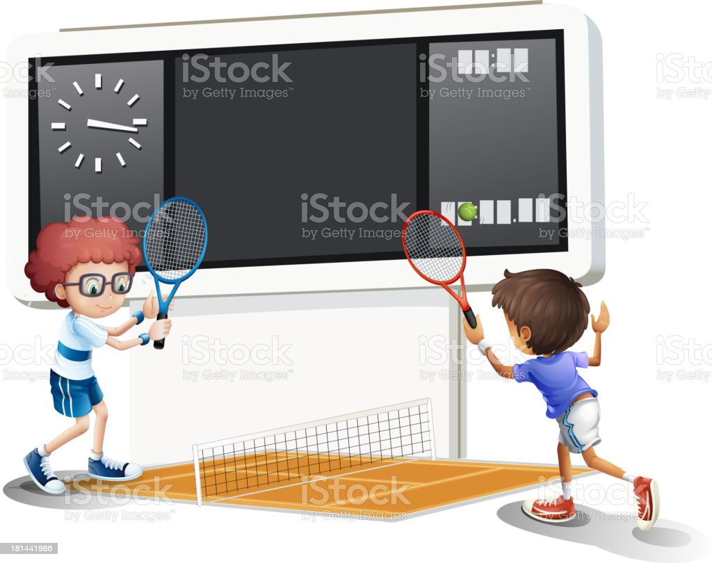Two boys playing tennis with a big scoreboard royalty-free stock vector art
