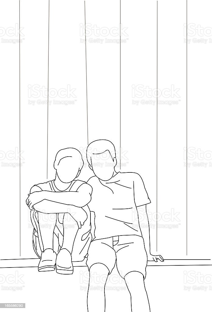 Two Boys Sitting in the Back Alley royalty-free stock vector art
