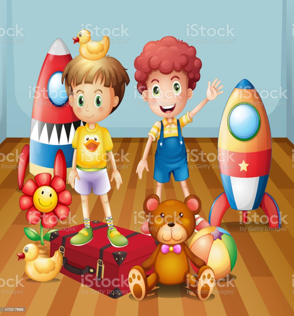 Two boys surrounded with toys royalty-free stock vector art