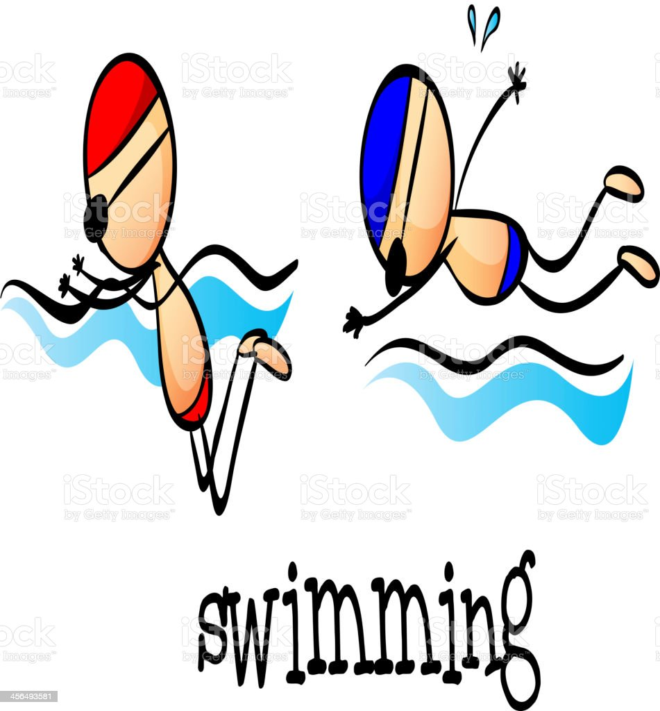 Two boys swimming royalty-free stock vector art