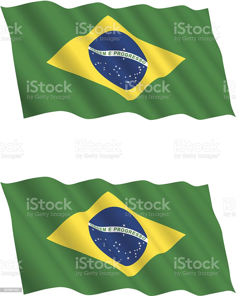 Two Brazilian flags unfurled and blowing in the wind vector art illustration