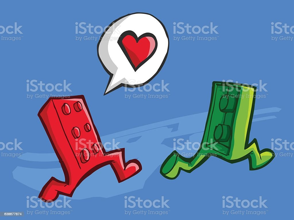 Two brick peaces in love vector art illustration