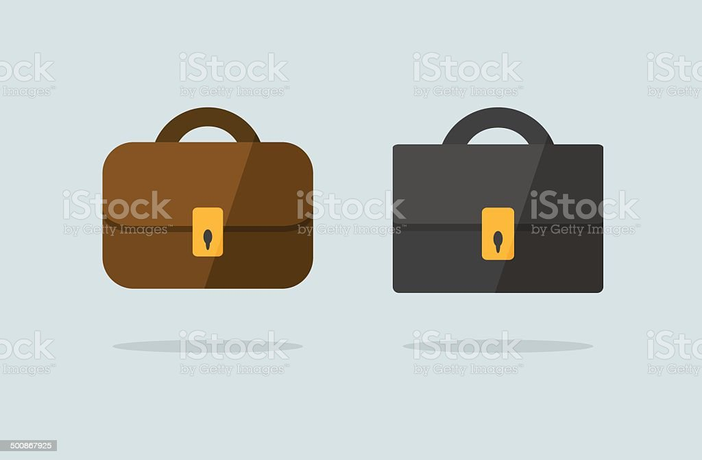 Two briefcase icons flat vector design vector art illustration