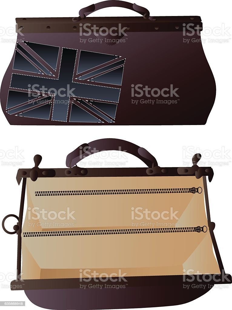 Two brown valise vector art illustration