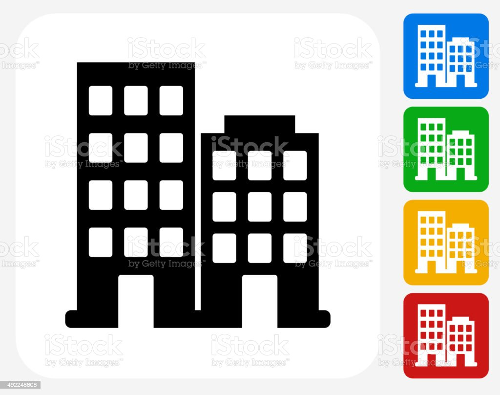 Two Buildings Icon Flat Graphic Design vector art illustration