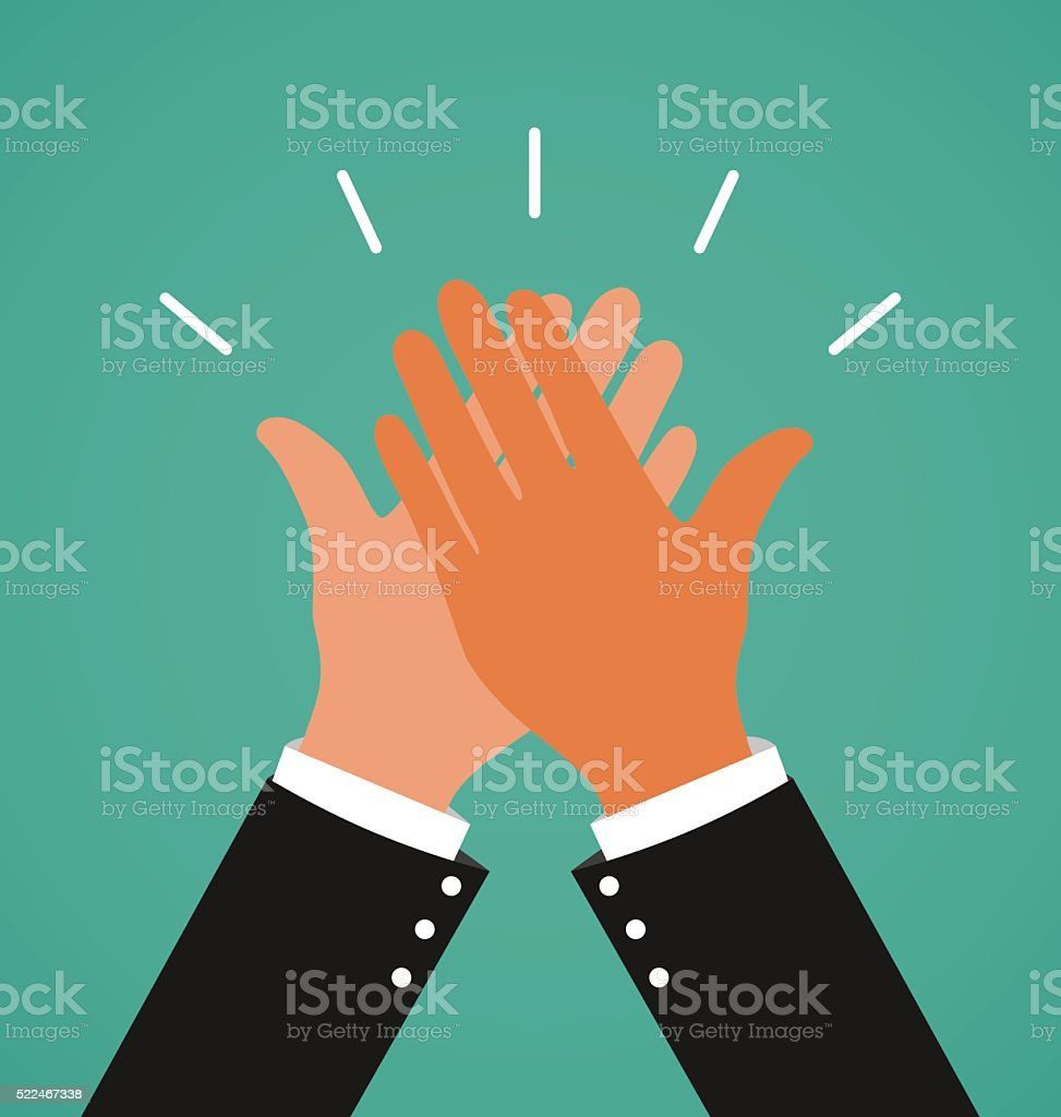 Two Business Hands Giving A High Five For Success Job vector art illustration