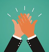 Two Business Hands Giving A High Five For Success Job