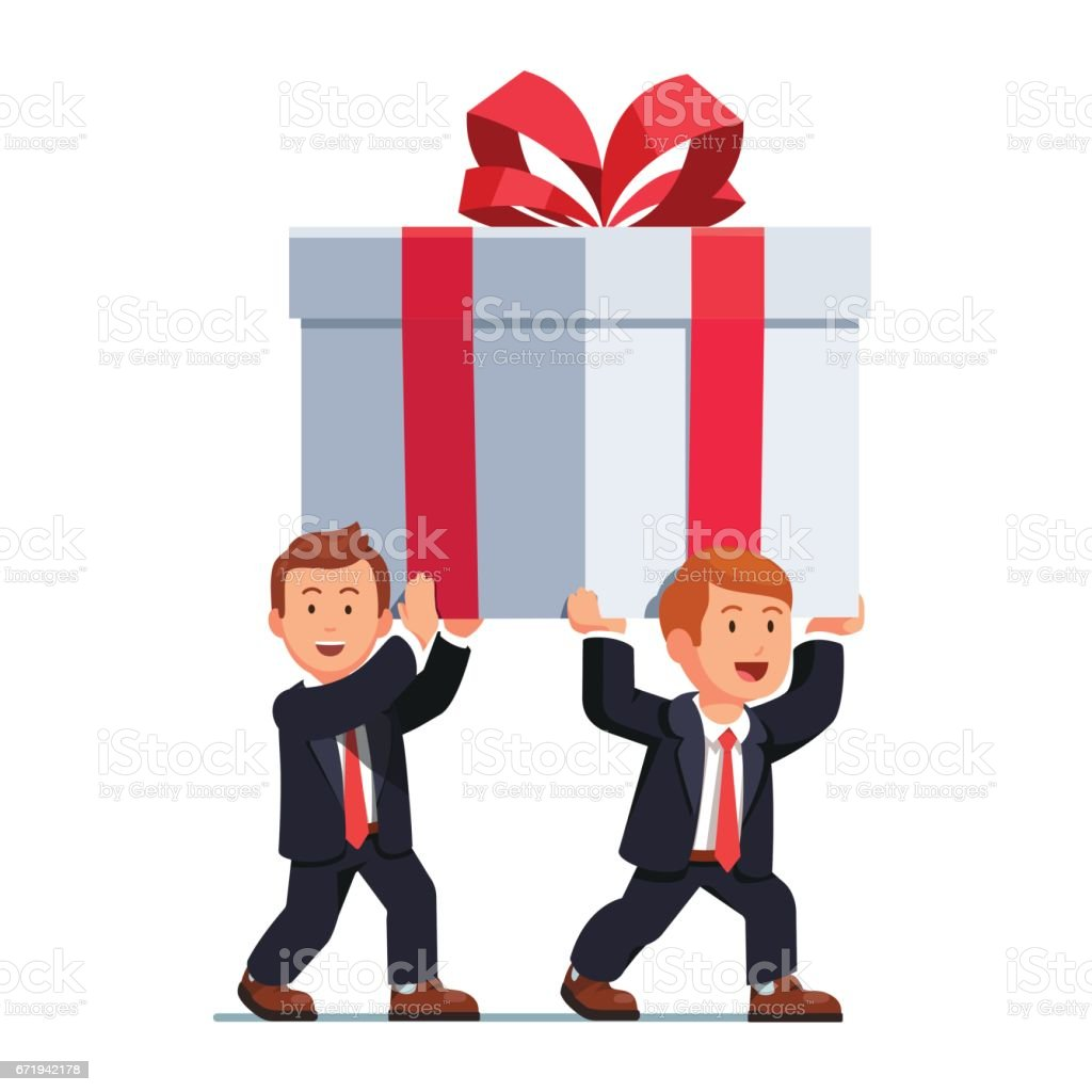 Two business man carrying huge holiday gift box vector art illustration