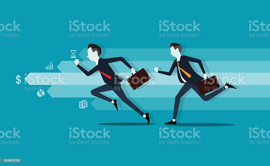 two business man. competitive . info graph.fast business.business leader vector art illustration