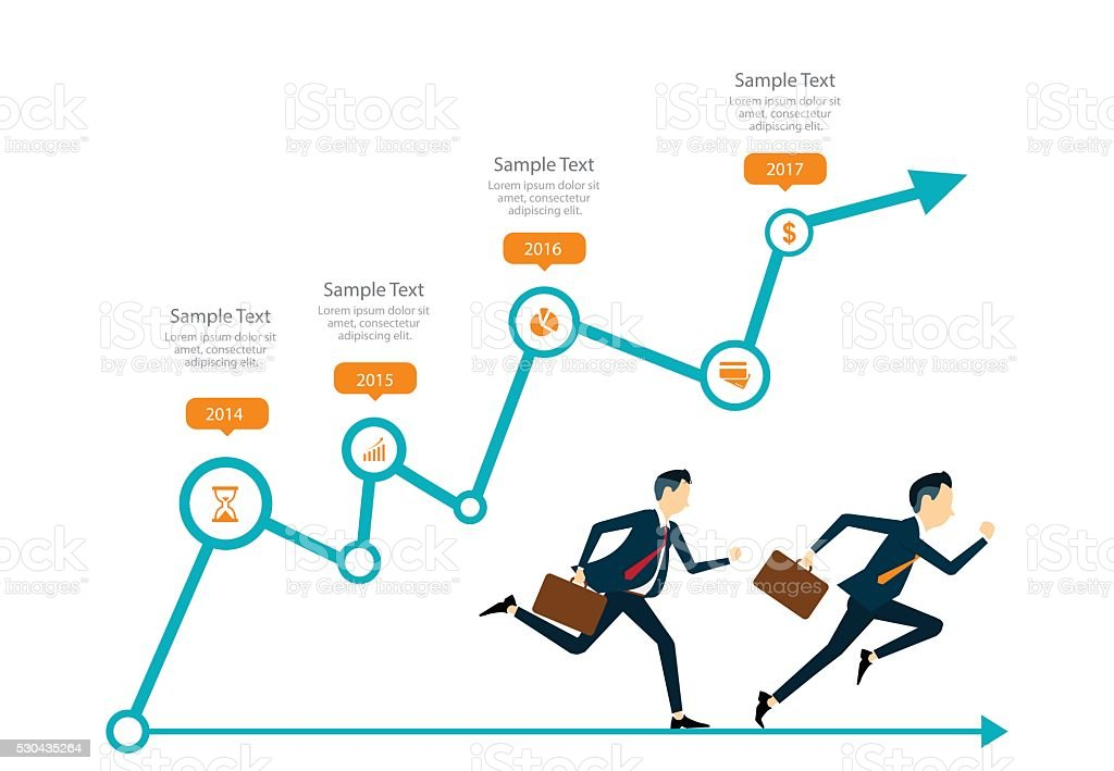 two business man competitive with business on info graph. infographic vector art illustration