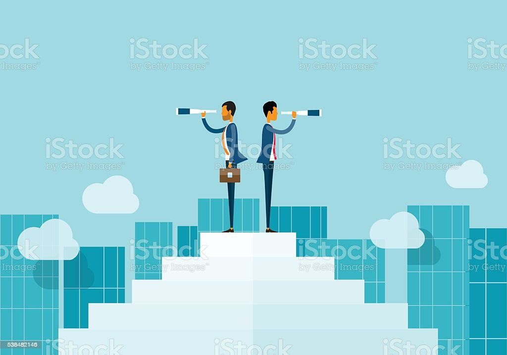 two business man looking business opportunities. vector art illustration