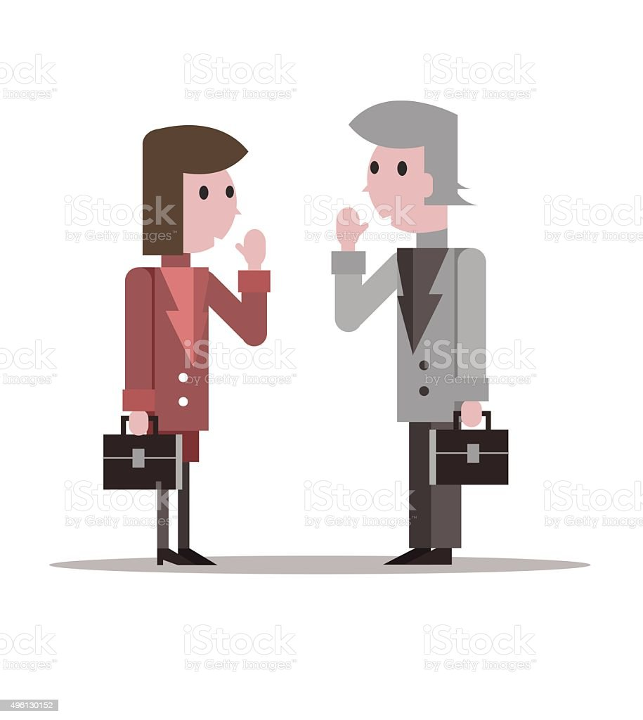 Two business people say hello. vector art illustration