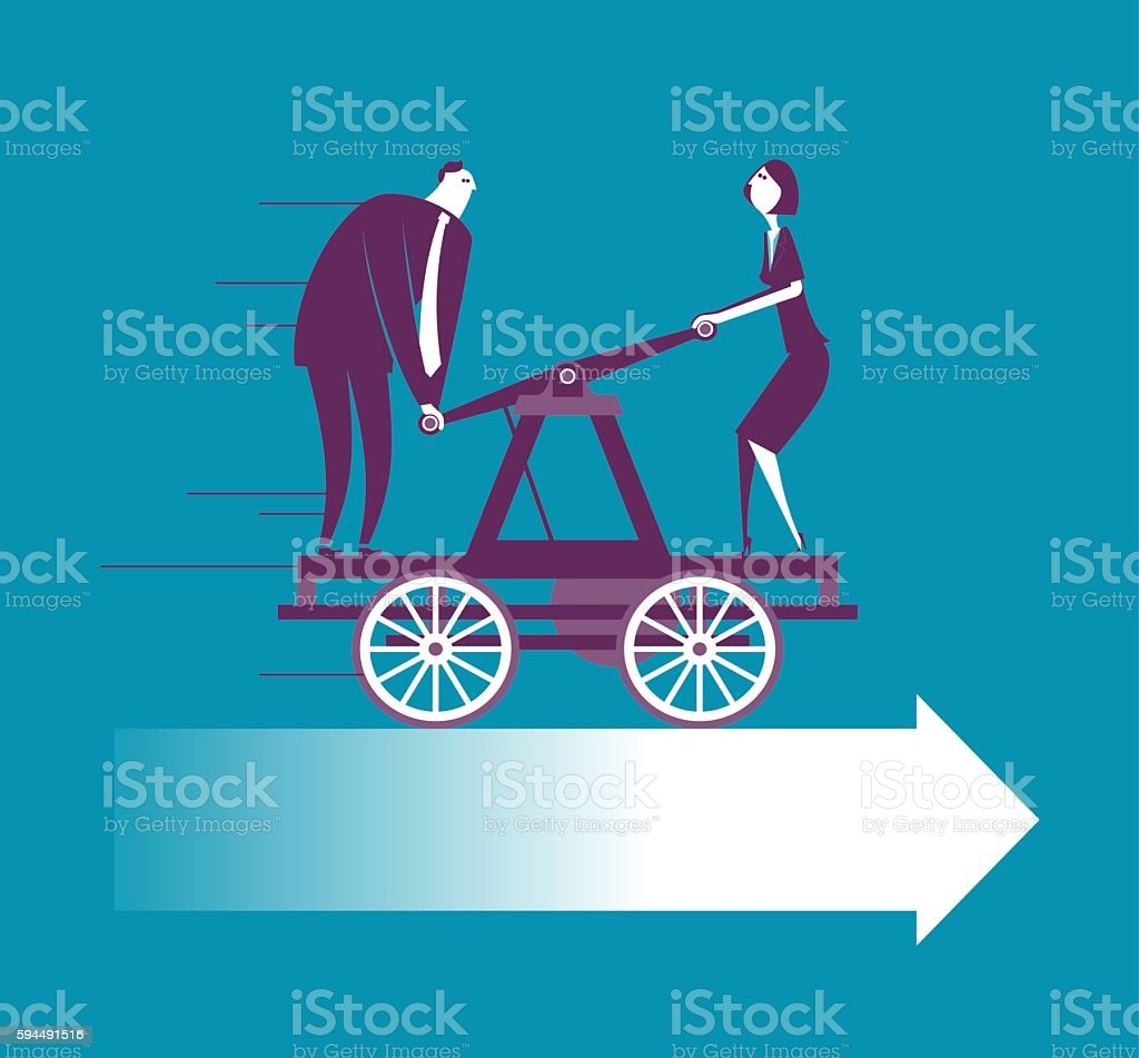Two business people working on handcar vector art illustration
