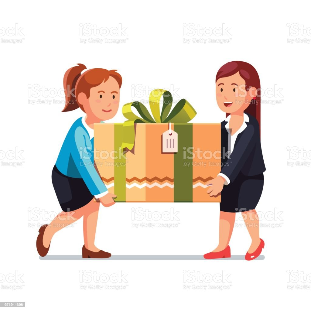 Two business woman carrying big holiday gift box vector art illustration