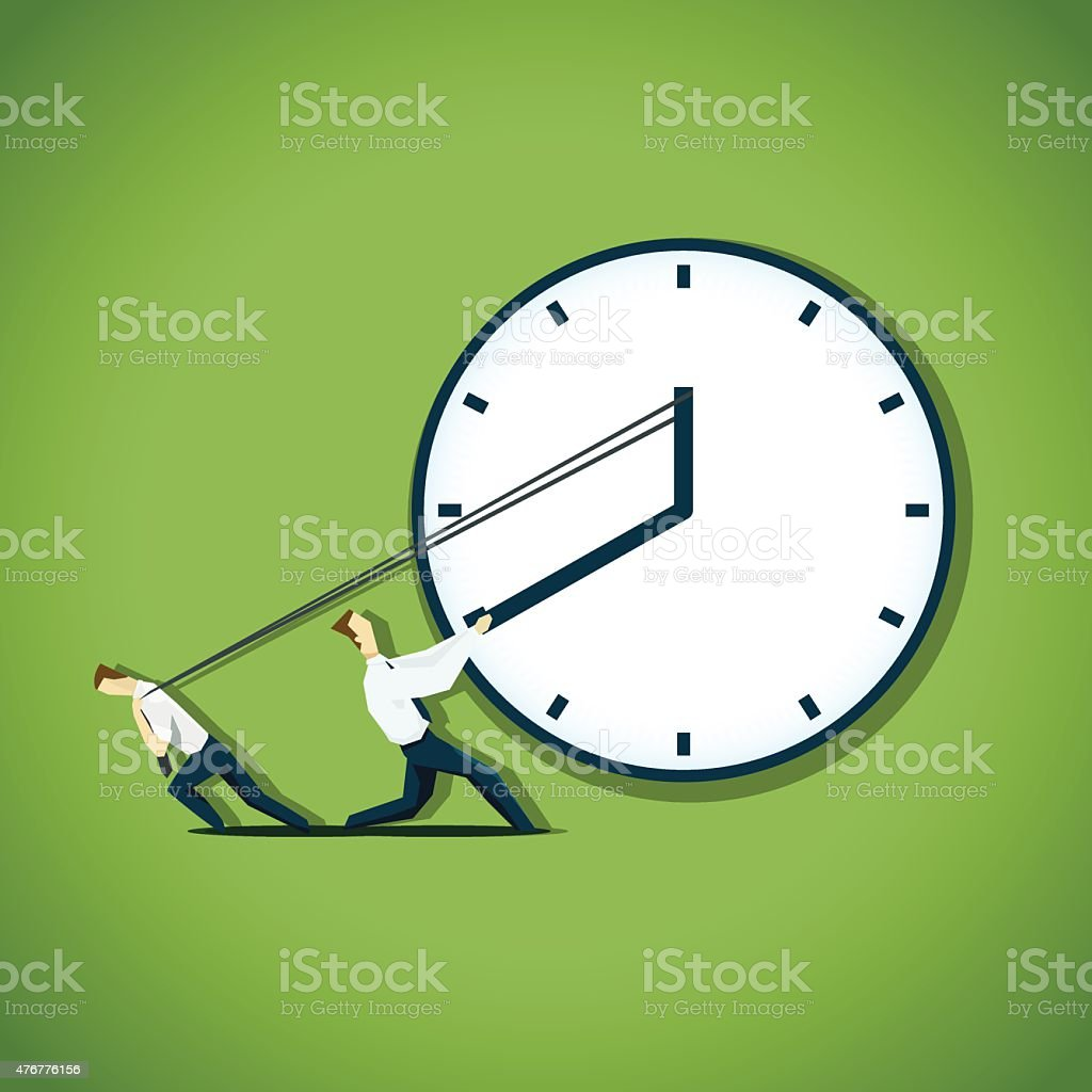 Two businessman are trying to slow the time vector art illustration