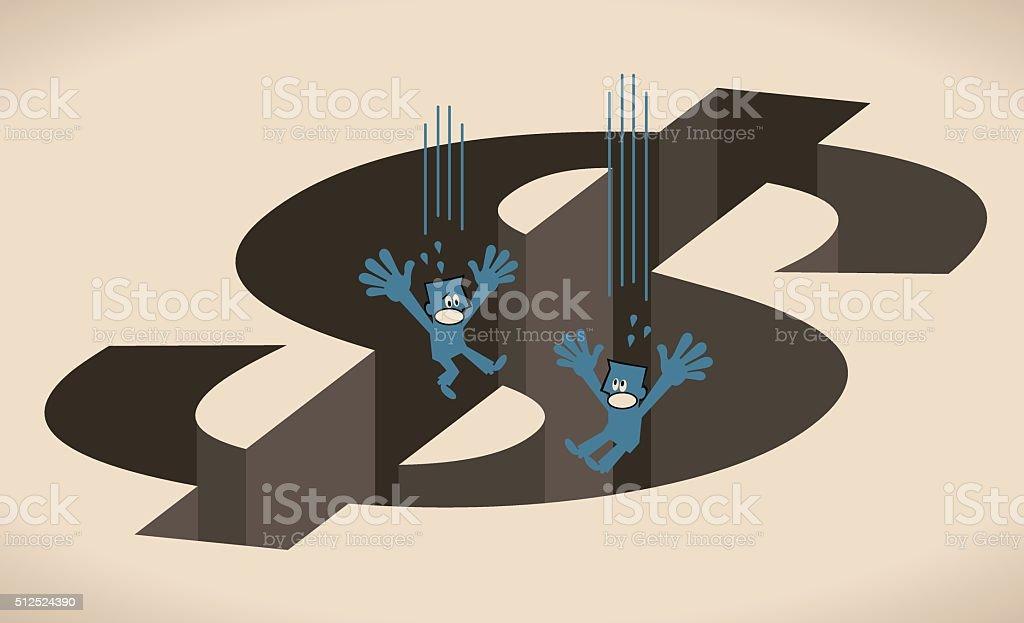 Two businessman falling into big Dollar shaped hole (money pit) vector art illustration