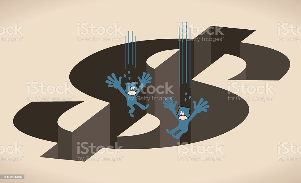 Two businessman falling into big Dollar shaped hole (money pit) vector art illustration