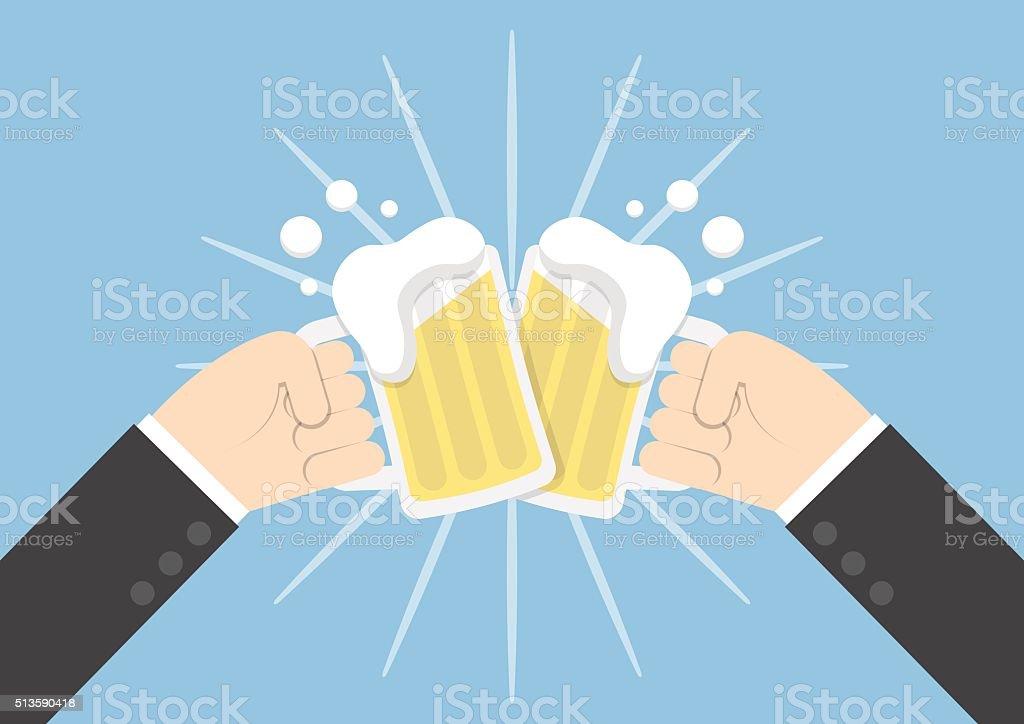 Two businessman hands toasting glasses of beer vector art illustration