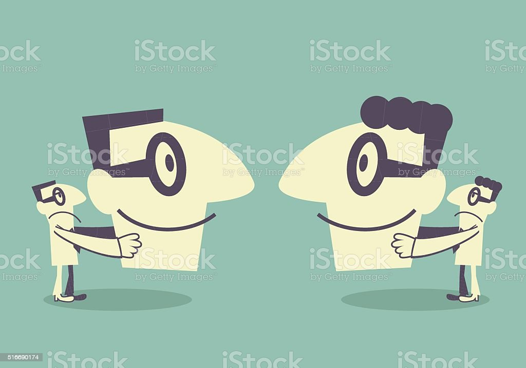 Two businessman hide real face by holding (wearing) smile mask vector art illustration