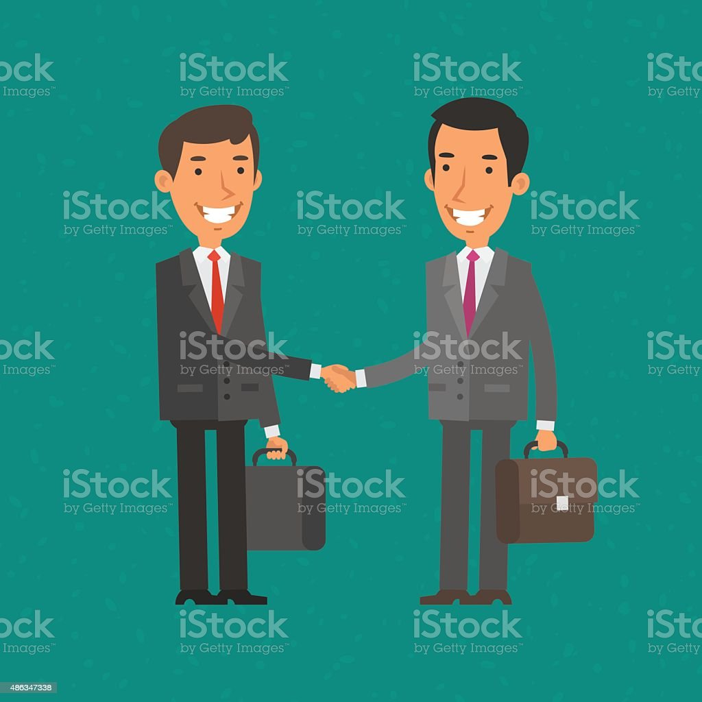 Two businessman shake hands and smile vector art illustration