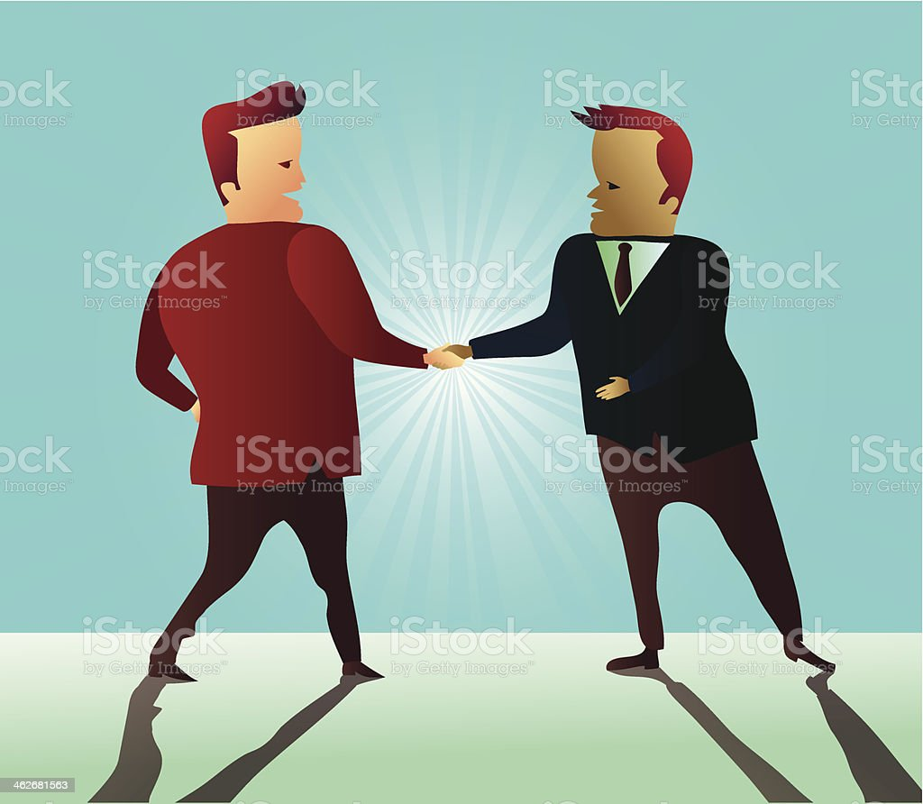 Two businessman shaking hands and signing a partnership agreement royalty-free stock vector art