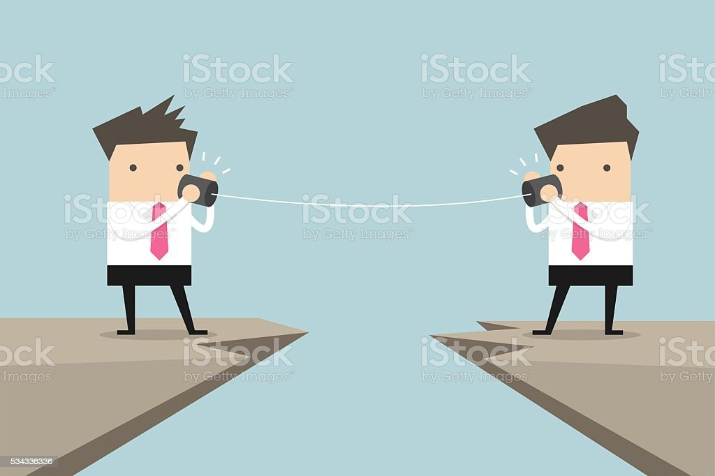 Two businessman talking with tin can on cliff vector art illustration