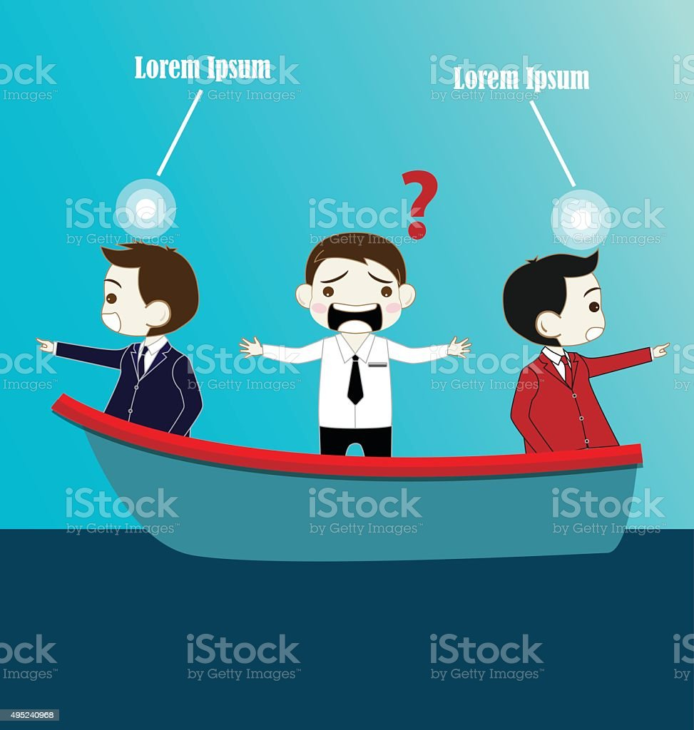 Two Businessman with conflict thinking in boat vector art illustration