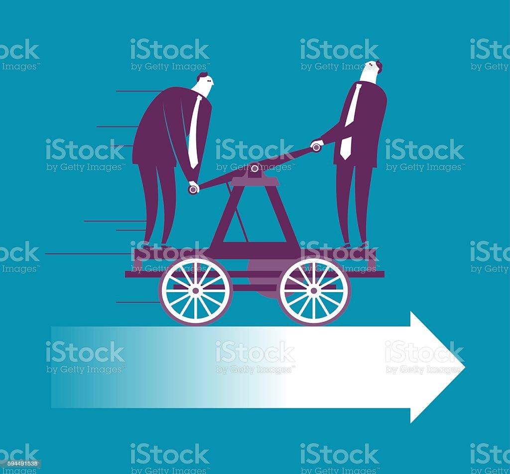 Two businessman working on handcar vector art illustration