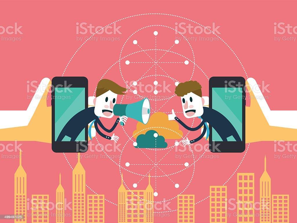 Two businessmen communicate on mobile cloud. vector art illustration
